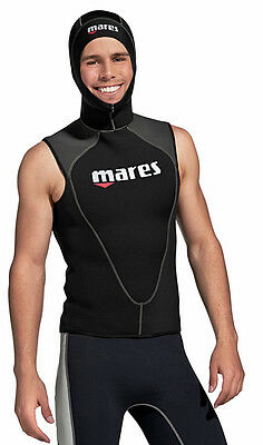 Mares Neoprene Vest with attached Hood - Warmth, Insulation Booster for Divers
