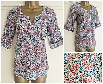New Ex Fat Face Pale Blue Red Dark Grey Floral Detail Cotton Top Size 8 - 16