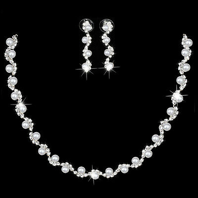 Bridal Bridesmaid Crystal Pearl Wedding Prom Silver Necklace Earring Jewelry Set