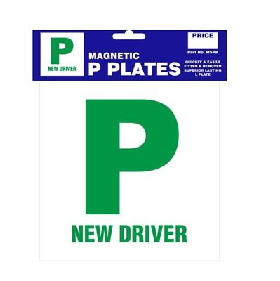 Packung von 2 P Plate New Driver Green Magnetic Pair Just Passed für Auto Van