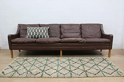 Original Danish Vintage Midcentury 1960s Leather Four Seater Sofa Mogensen Style