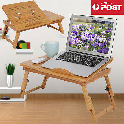 Adjustable Bamboo Laptop Bed Desk Table Foldable Computer PC Holder Tray Stand