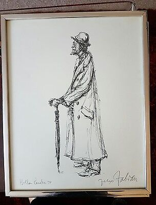 Vintage 1968 Felix Fabian Limited Edition Signed  Print - Framed & Behind Glass