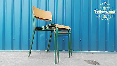 Pair of Vintage Industrial School Cafe Diner Coffee Shop Chairs - Slight Damage