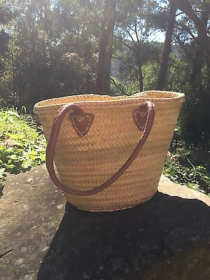 French Market Basket Hamper Made in Morocco Medium Size with Leather Handles