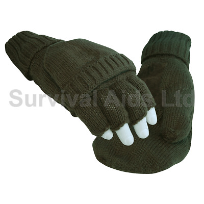 Thinsulate Fingerless Shooting Mitts, Olive Green