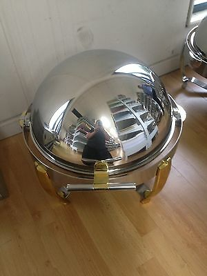 Round Chafing Dish With Silver Trimming