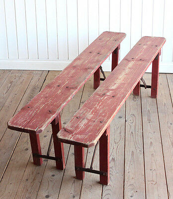 Pair of Vintage Industrial French Rustic Red Folding Benches