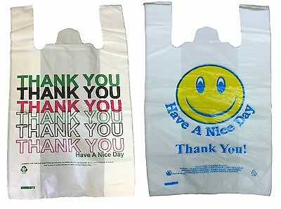 Thank You and Smiley Face Vest Plastic Carrier Bags Large and Jumbo 23 micron