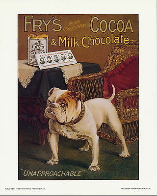 Old Vintage Art Advertisement Print Cocoa Milk Chocolate Unapproachable Bulldog