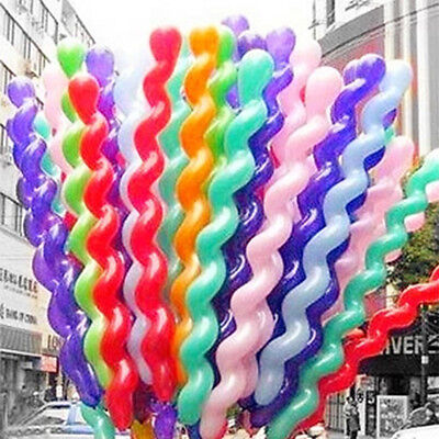 10/100 pcs Twist Long Spiral Latex Balloons Wedding Party Decoration-Multicolor