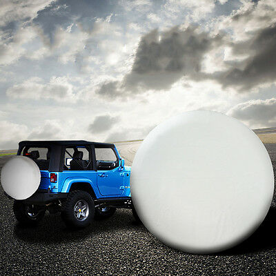 "15"" White 4x4 4WD SUV Spare Wheel Tyre Cover Fit Tire Diameter 70-75cm (28"" 29"")"
