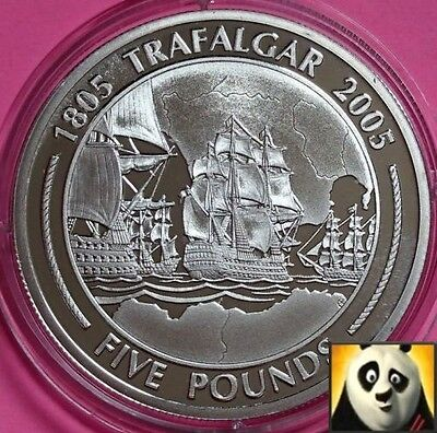 2005 GIBRALTAR £5 Pound The Battle of Trafalgar Battle Tactics Silver Proof Coin