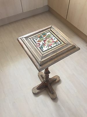 Antique Stripped Pine Victorian Tile Plant Stand
