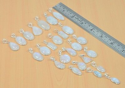 Wholesale 25Pc 925 Solid Sterling Silver Natural Rainbow Moon Stone Pendant Lot