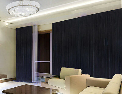Long Large Thick Velvet Curtain 300x230cm +2m blockout with hooks Black New