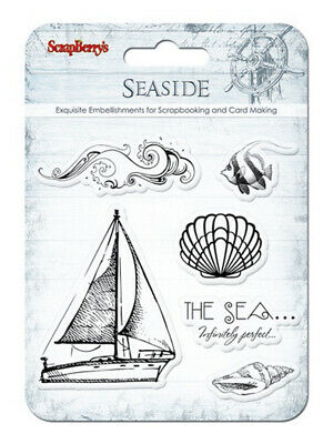 "Clear Stamps ""Seaside - Sailingship"" transparent, Seegelschiff, Muschel, Meer"
