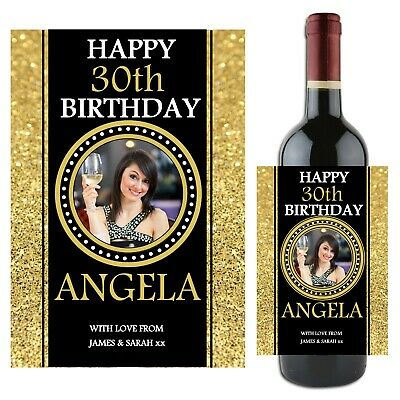 Personalised Happy Birthday Wine Champagne Bottle Label N84 18th 21st 30th 40th