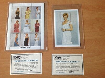 International collectors society Princess Diana sheets w/COA Mint