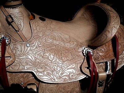 "16""western tack pleasure wade leather horse saddle headstall breastplate cinch"