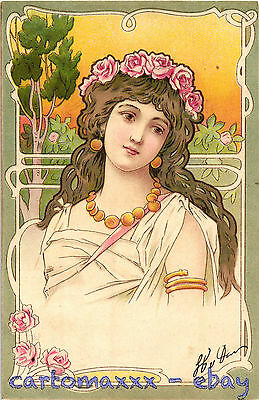 Art Nouveau - Beautiful Woman - Emile Storch (?) - L009