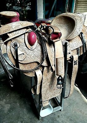 "16""western tack pleasure wade leather horse cowgirl rodeo saddle headstall reins"