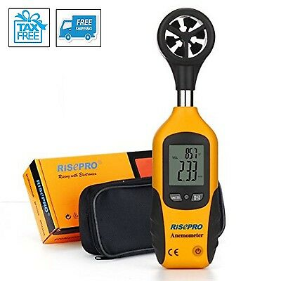 Digital Anemometer Mini LCD Wind Speed Flow Meter Gauge Thermometer Temperature