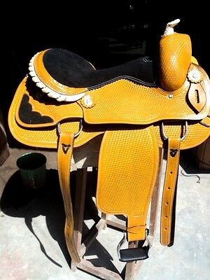 "new 16""western tack trail pleasure all purpose rodeo cowboy horse leather saddle"