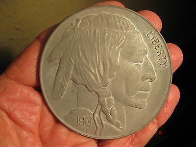 """1913 3"""" BUFFALO US NICKEL Indian Head NOVELTY Penny PAPERWEIGHT Toy Collectible"""