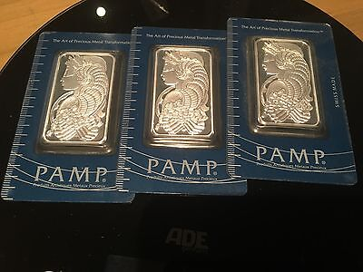 3 x 1oz PAMP Suisse Lady Fortuna Silver Bullion Bars .999