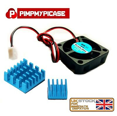 5V COOLING FAN for Raspberry Pi 2 3 Model B A B+ ( 2 x Blue Heatsink )