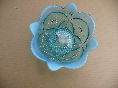 Blue Opalescent Bowl ~ Fancy Beaded And Flowered