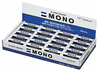 Dragonfly Tombow MONO PLASTIC ERASER PE-01A  40pieces box  from Japan