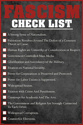 FASCISM CHECK LIST 24x36 POSTER FUNNY WALL DECOR NATIONALISM POLITICS USA RED!!!