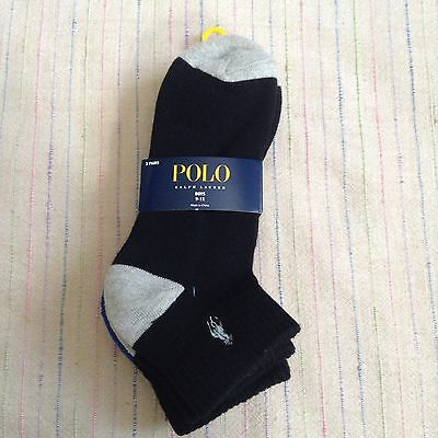 NWT Ralph Lauren POLO Youth Black Ankle Socks Boys L XL Pkg of 3 Teen Shoe 4-10