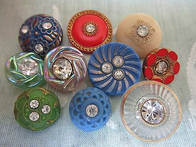 Lot of vintage glass with paste buttons - pretty selection!