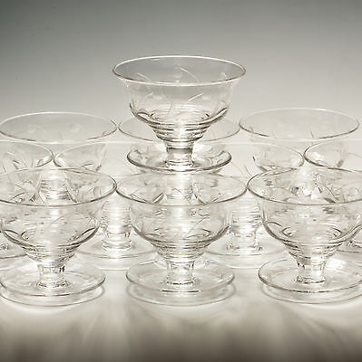 Stuart Crystal Eleven Dessert Sundae Dishes Classic Flower Cut - signed c.1950