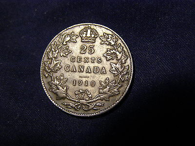Canada 25 Cents Silver 1910 [VF]