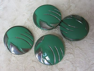 Vintage True Art Deco era - buckle & buttons - set - green and silver
