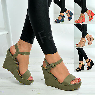 Womens Ladies Ankle Strap Wedge Platforms High Heels Sandal Shoes Size Uk 3-8