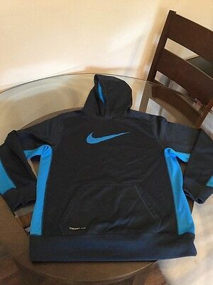 Nike Therma Fit Hoodie Sweatshirt Youth XL Blue Excellent Condition