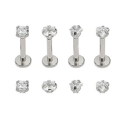 16G CZ Gem Round Tragus Lip Ring Monroe Ear Cartilage Stud Earring Bars Piercing