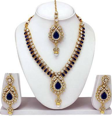 Indian Bollywood Style Fashion Gold Plated Bridal Jewelry Necklace Set For Women