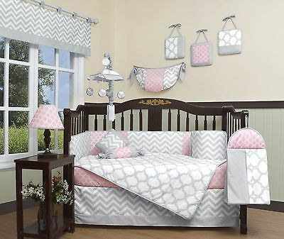 Girls Crib Bedding Pink Gray Chevron Zig 13 PC Set Baby Infant Toddler Quilt NEW
