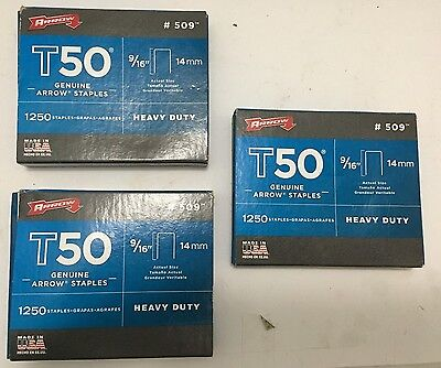 "Arrow - T50 Genuine Arrow Staples - 9/16"" 1250 Heavy Duty - #509"