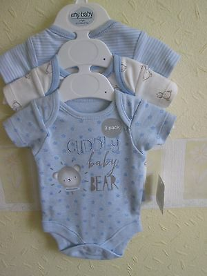 Pack of 3 body suits ( boys ) bnwt .new born  up to 6 lbs.