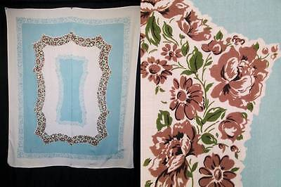 Vintage Tablecloth Blue Brown Flowers Frame Cotton Rayon Blend 52 x 67