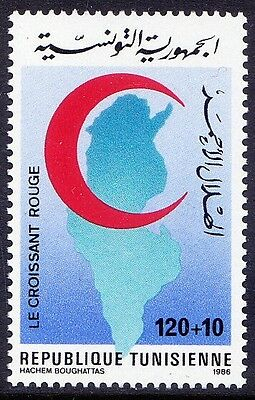 Tunisia 1986 MNH 1v, Red Cross, Red Crescent, Map -F1