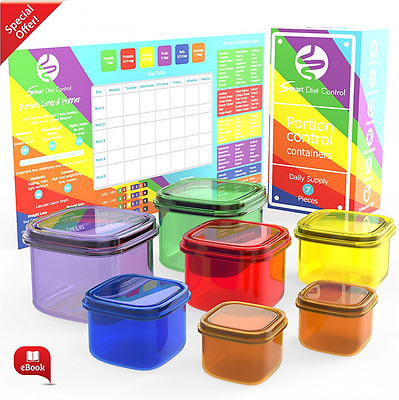Smart Diet Control - 7 Piece Portion Control Containers Kit with Guide & Planner