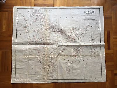 Very Rare Antique India Big Map Showing Railways Corrected In 1920